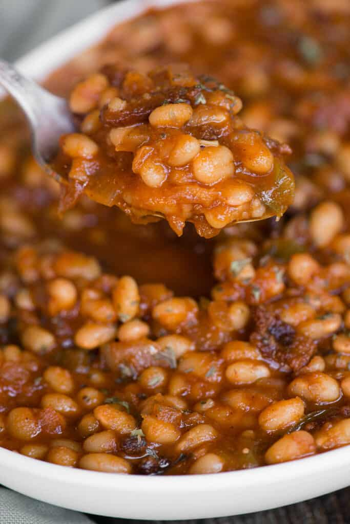 Spoonful of baked beans made in the Instant Pot
