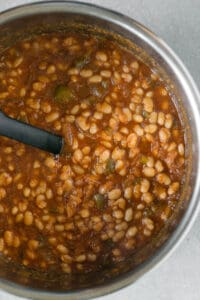 cooked baked beans in pot