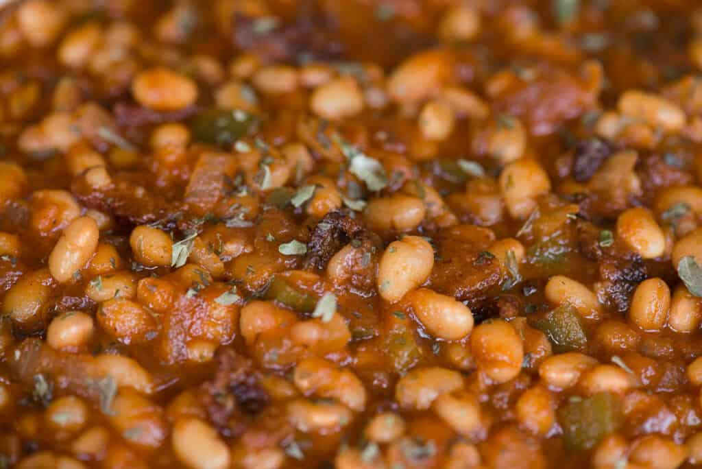 close up of homemade baked beans