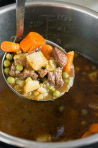 ladle of beef stew in Instant Pot