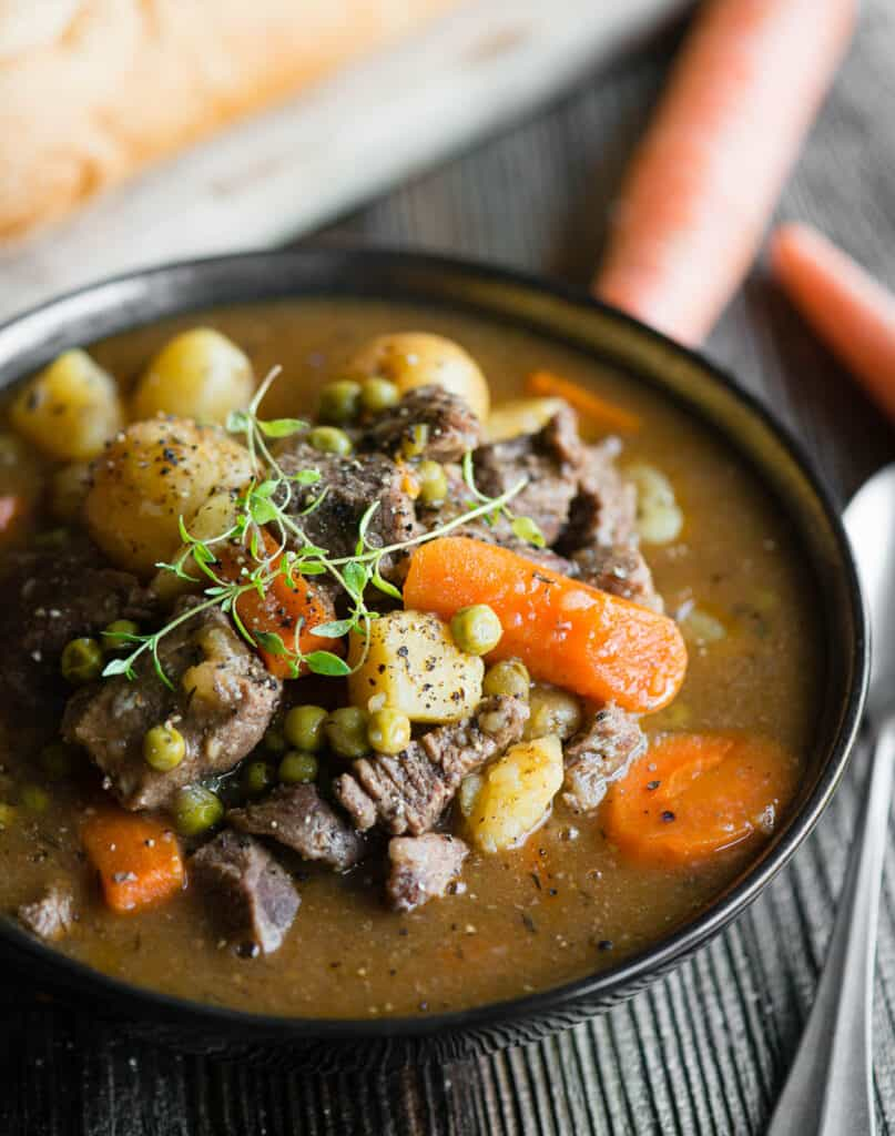 bowl of beef stew made in instant pot
