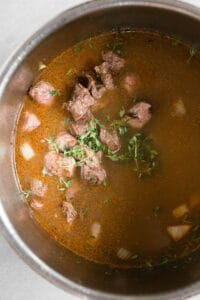 beef and thyme in instant pot for stew