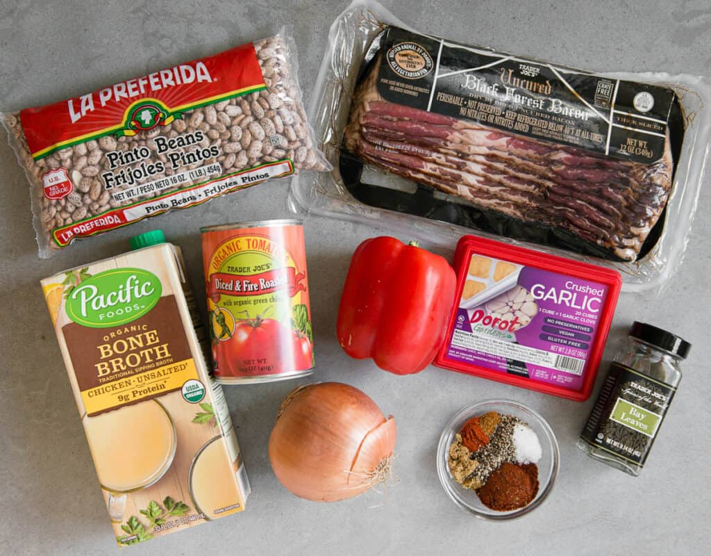 ingredients used to make Instant Pot Charro Pinto Beans