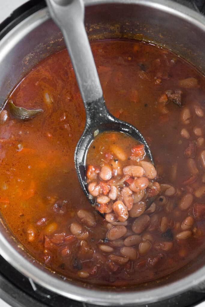 Charro pinto beans cooked in the Instant Pot