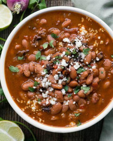 Charro pinto beans with bacon in bowl