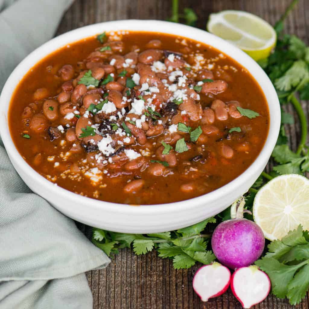 bowl of Mexican pinto beans