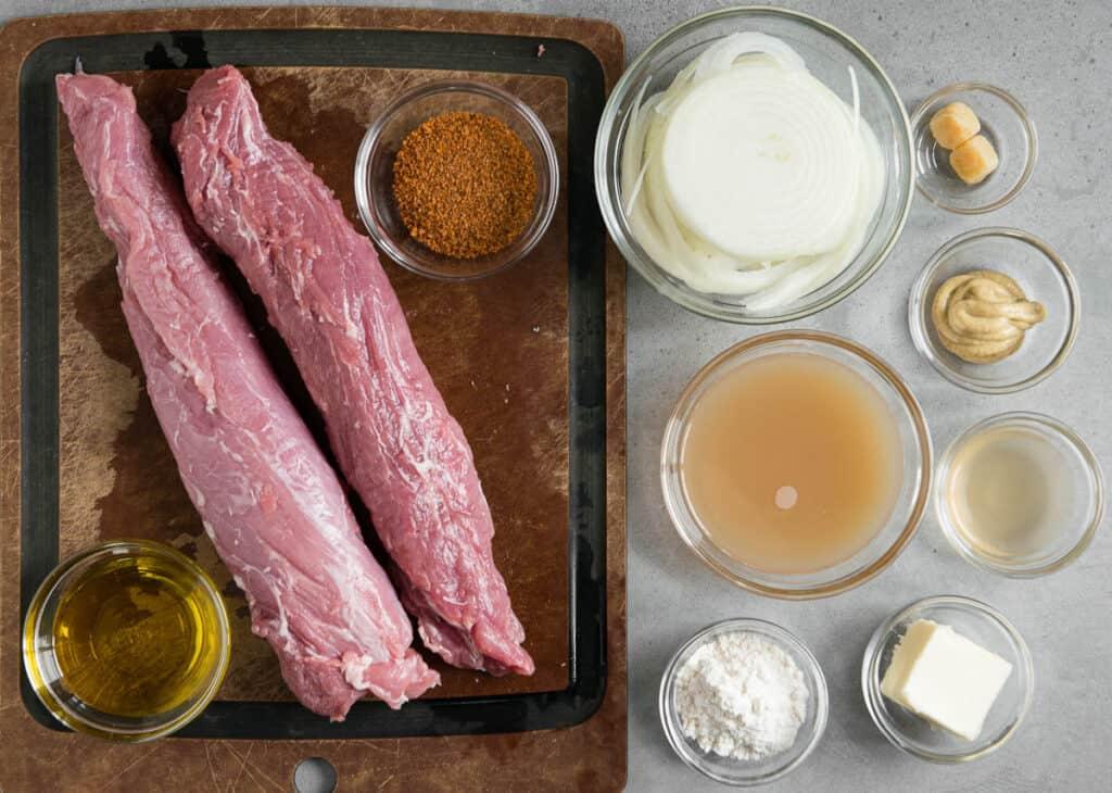 ingredients to make Instant Pot Pork Tenderloin with Onion Gravy