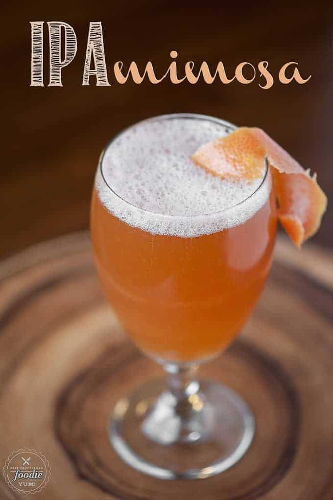 This IPA Mimosa is a refreshing and manly drink made from an ice cold IPA and freshly squeezed grapefruit juice, perfect for a tasty game day cocktail.