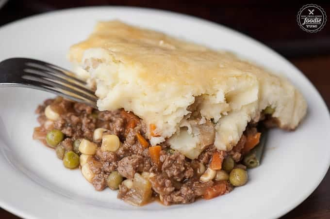 serving of shepherd's pie recipe with irish cheddar