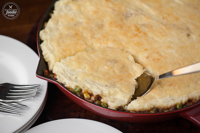 This Irish Cheddar Shepherd's Pie is the perfect comfort food, tastes even better leftover, St. Paddy's Day meal that your family will love.