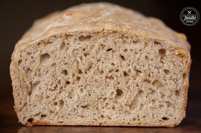 inside of a loaf of homemade bread