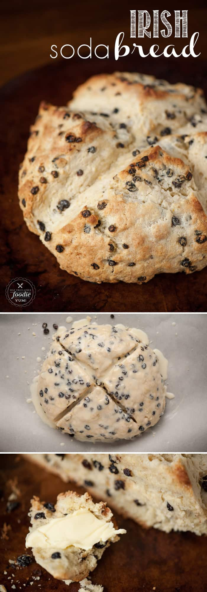 Irish Soda Bread, made from scratch with currants and buttermilk, is crispy on the outside and perfectly moist on the inside. It is a super easy recipe to make and has a very distinct taste. This subtly sweet bread is a perfect addition to any St. Patrick's Day celebration. #sodabread #irish #irishsodabread #saintpatricksday #stpaddys #stpatricks #currants #buttermilk