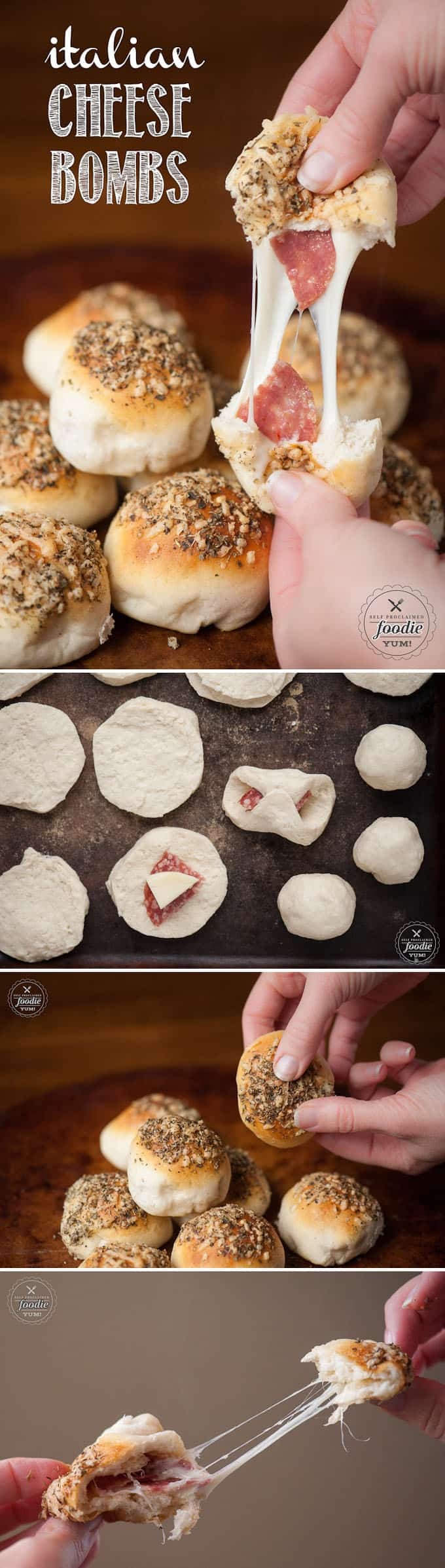 Italian Cheese Bombs take only minutes to prepare using premade biscuit dough wrapped around melty Italian cheese and salami and are everyone's favorite.