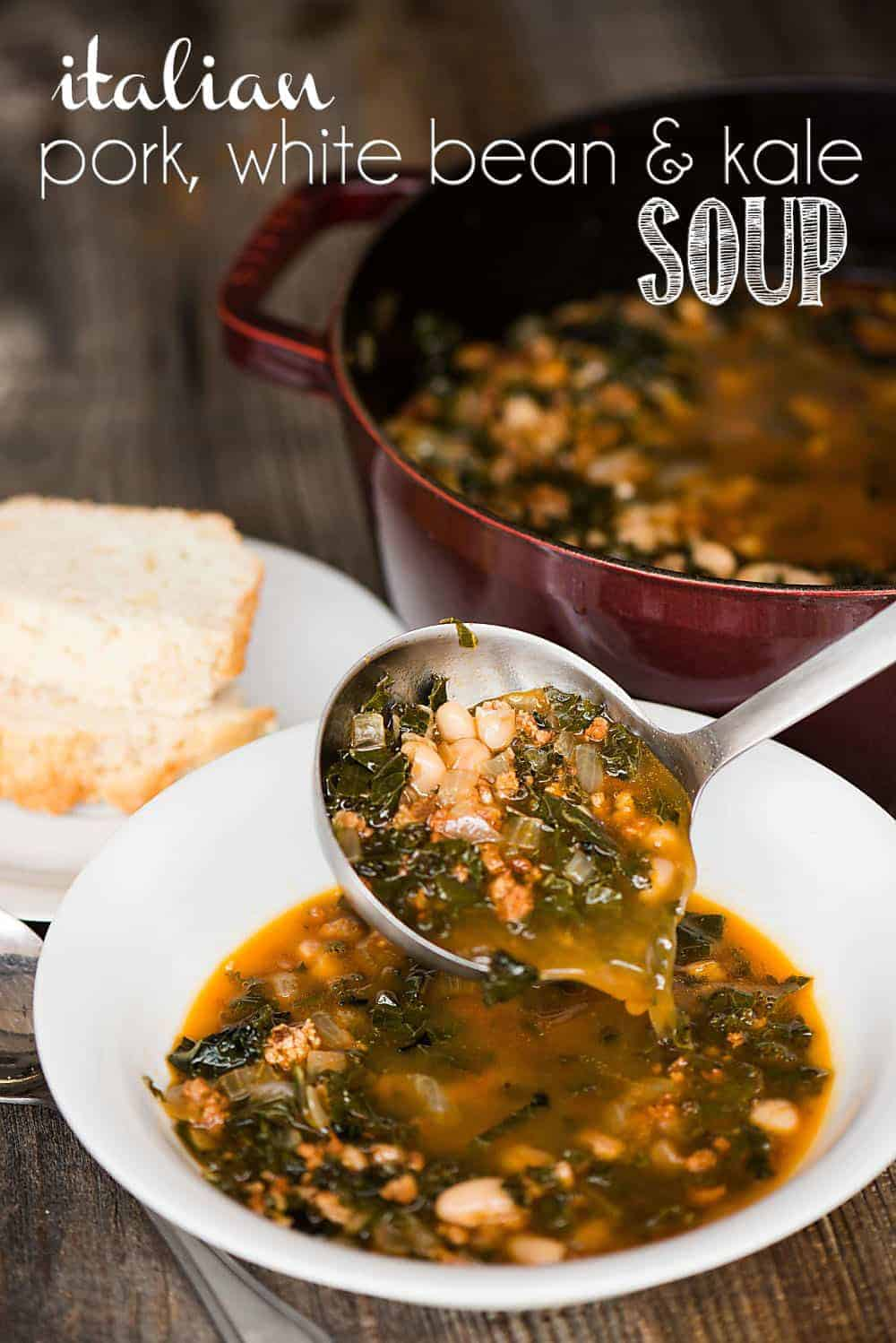 Italian Pork White Bean & Kale Soup is a hearty and healthy meal that is quick enough to serve as an easy weeknight dinner.