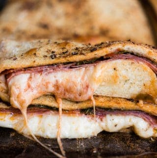Italian stromboli with meat and cheese