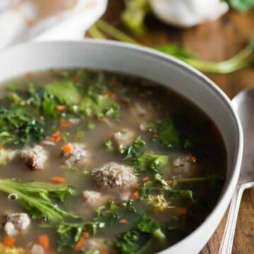 bowl of homemade italian wedding soup