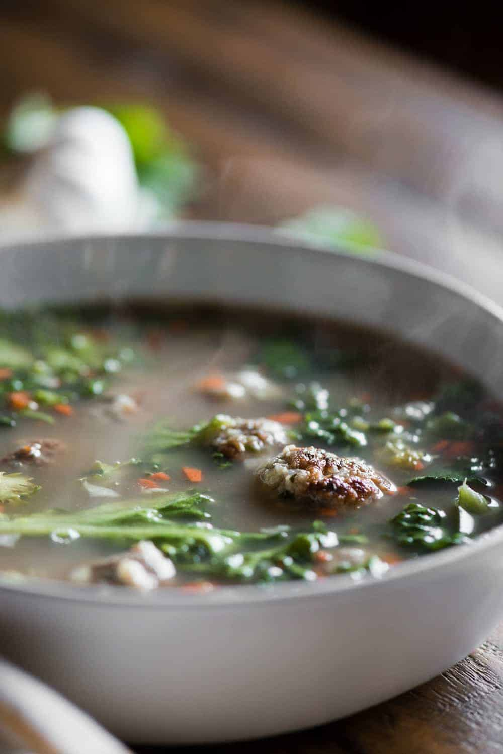 steamy hot bowl of italian wedding soup