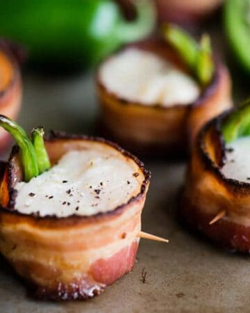 Jalapeño Bacon Wrapped Scallops with pepper