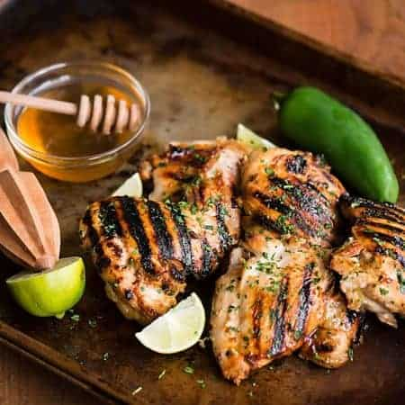 A little bit of sweet, the perfect hint of sour, and the perfect amount of heat make this Jalapeno Honey Lime Grilled Chicken the perfect summer dinner!