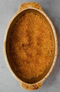 toasted breadcrumbs in oval dish