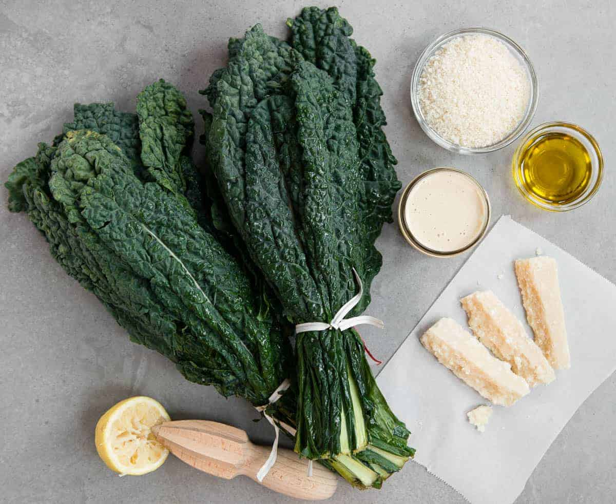 ingredients used to make kale Caesar salad