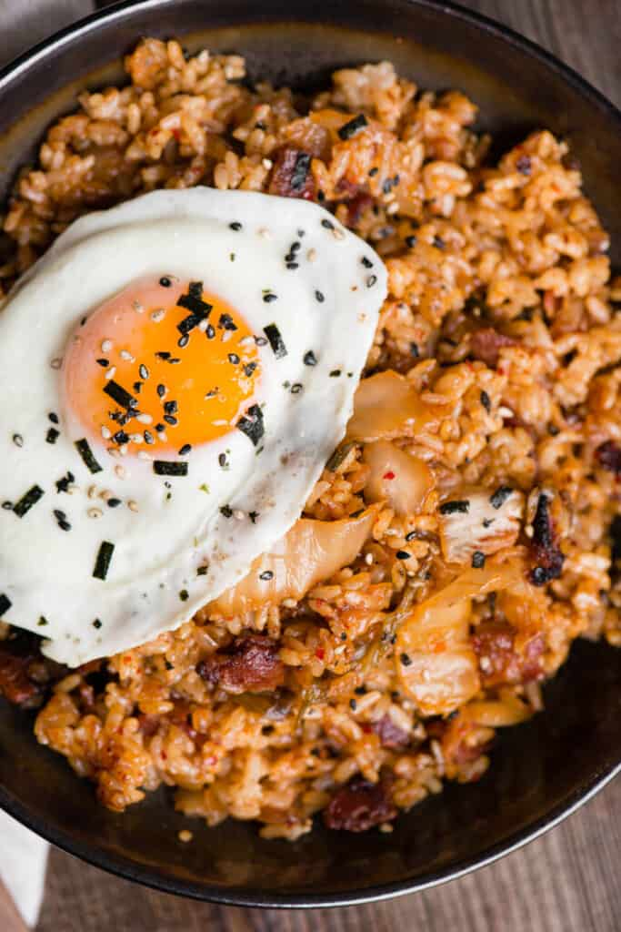 fried rice with kimchi, bacon, and fried egg