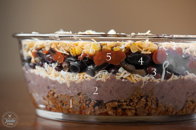 Showing the seven layers of a taco inspired dip served warm