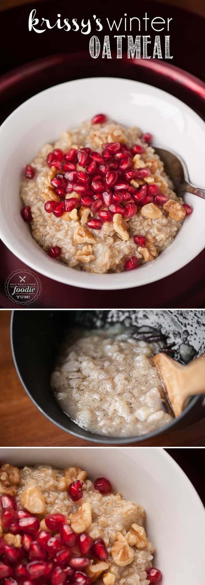 If you're looking for a healthy way to make your breakfast oats more delicious, Krissy's Winter Oatmeal uses pear, pomegranate, vanilla bean & more.