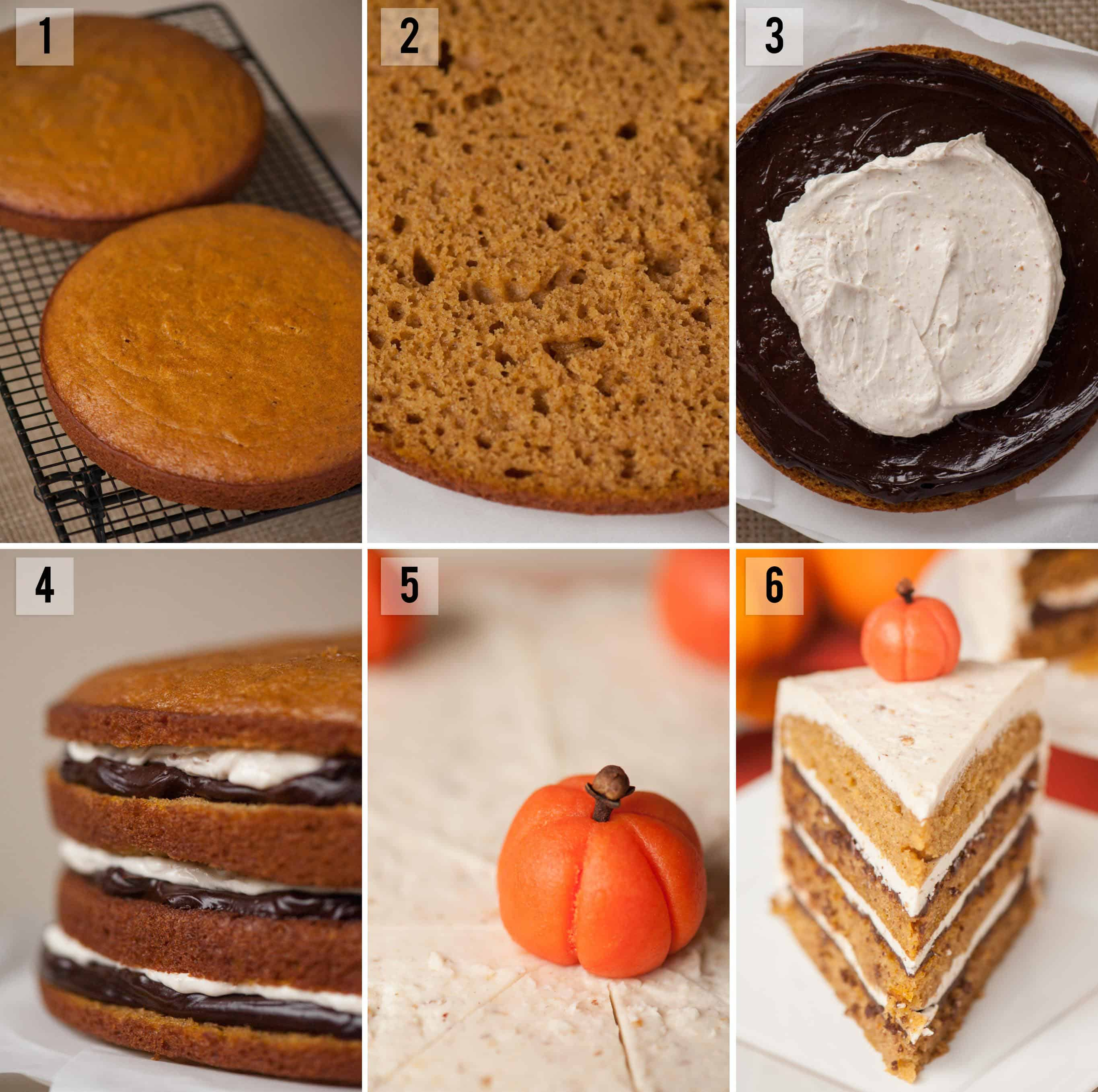 step by step directions on how to make layered pumpkin cake