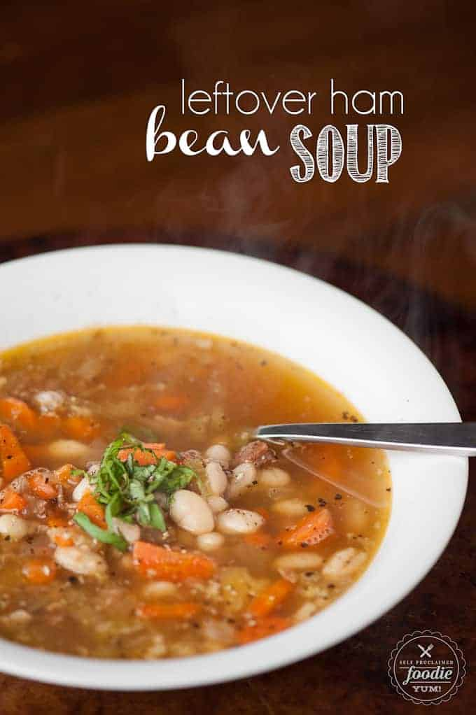 Leftover Ham Bean Soup is the easiest and most flavorful soup your family will love made with a rich broth in the slow cooker from your holiday ham bone.