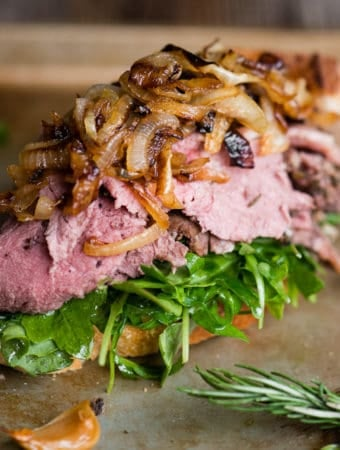 sandwich with leftover prime rib and caramelized onions