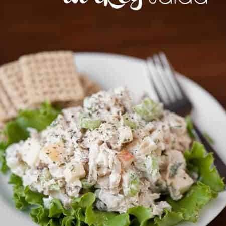 After the holiday, transform your leftover Thanksgiving turkey into this Leftover Turkey Salad made with the yummy fall flavors of fresh apple and pecans.