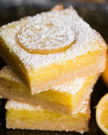 stack of homemade lemon bars
