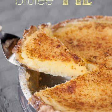 a slice of lemon brulee pie