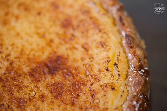 A close up of lemon brulee pie