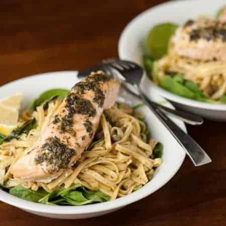 Lemon Caper Pesto Salmon Pasta