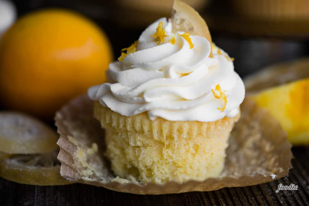 Lemon cupcakes with frosting