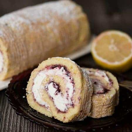 Lemon Lingonberry Jam Cake Roll