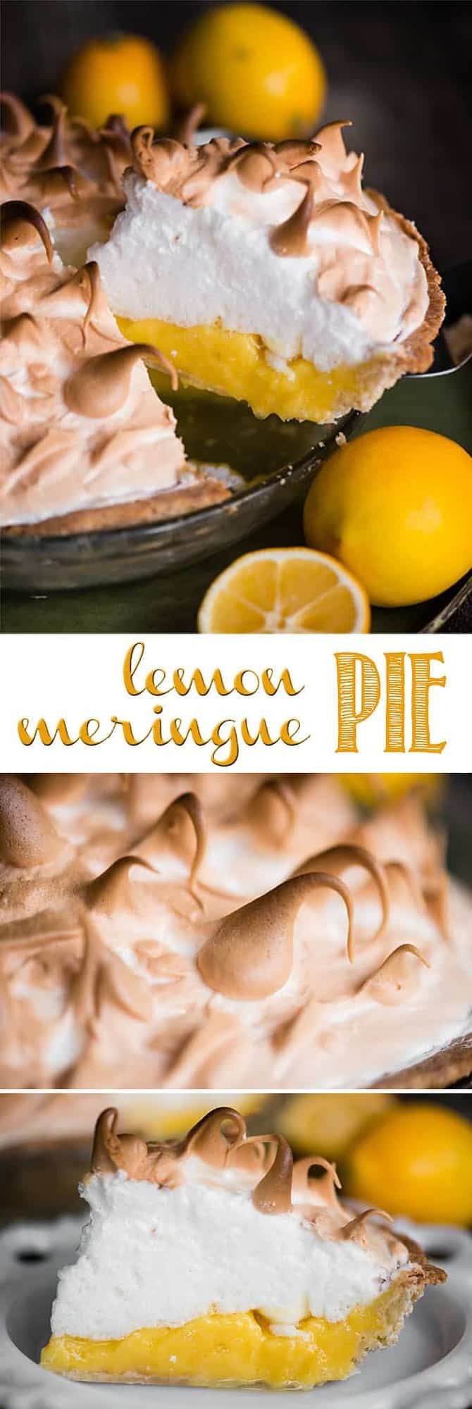 Lemon Meringue Pie is made with a flaky all-butter crust, a creamy and tart lemon filling, and a light meringue topping. It is a fantastic citrus dessert that is a real treat because it is a three-step recipe that takes time, care, and technique. The result is a mouth watering pie that looks and tastes amazing! #lemonmeringuepie #lemon