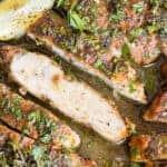 thin slice of pan fried Lemon Pepper Chicken