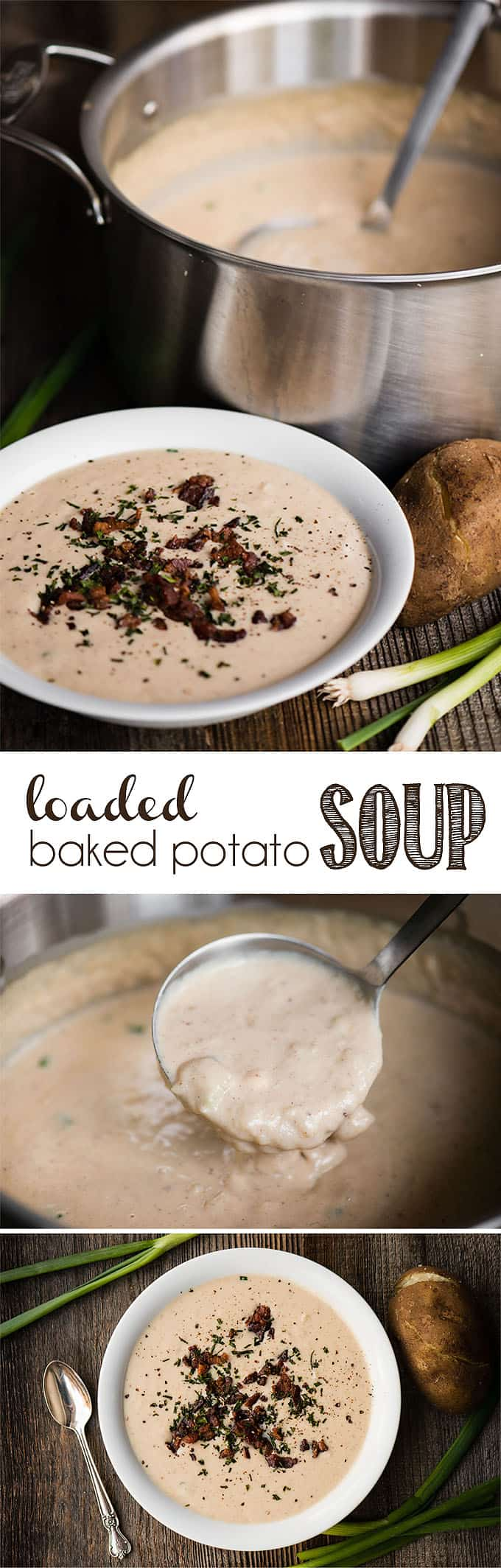 Loaded Baked Potato Soup is a rich and creamy soup filled with everything the perfect loaded potato has. Crisp bacon, sour cream, grated cheddar cheese, green onions, and perfectly cooked baked potatoes. This is one of the best comfort food meals best enjoyed with a fresh green salad and hot crusty bread. Yum! #bakedpotatosoup #soup #loadedbakedpotato