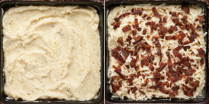 two stages of cheesy mashed potato casserole