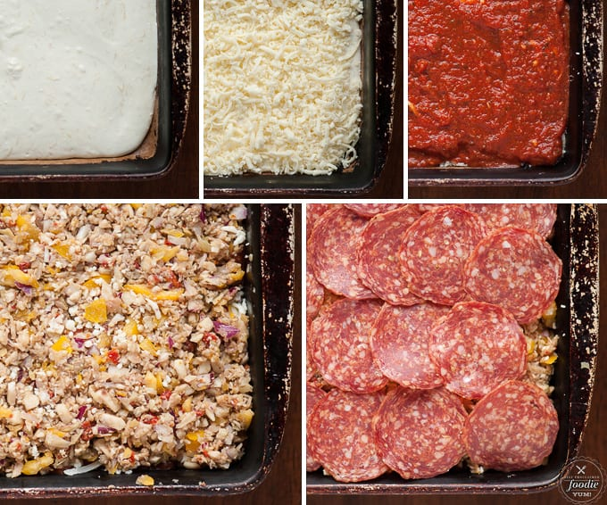 5 different stages of loaded cheesy pizza dip