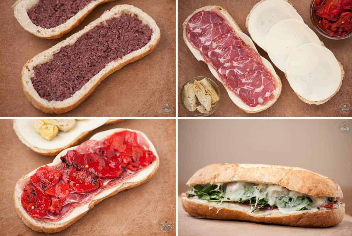 step by step process photos for how to make an italian sandwich
