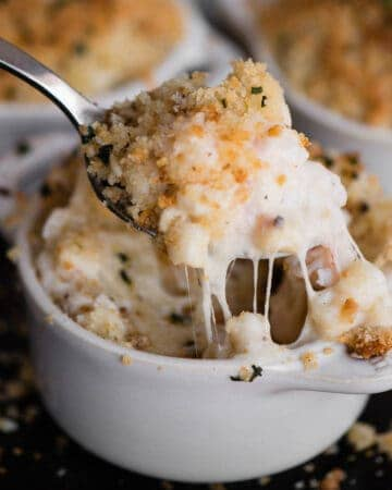 spoonful of baked macaroni and cheese with lobster