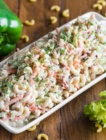 platter of homemade old fashioned Macaroni Salad