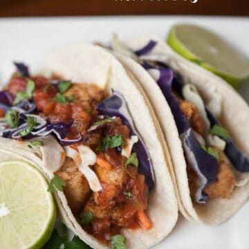 mahi mahi fish tacos on a dish