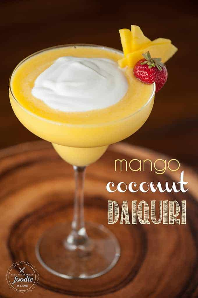 There's nothing quite like a refreshing tropical Mango Coconut Daiquiri made with fresh mango, coconut rum, and coconut cream on a hot summer day.
