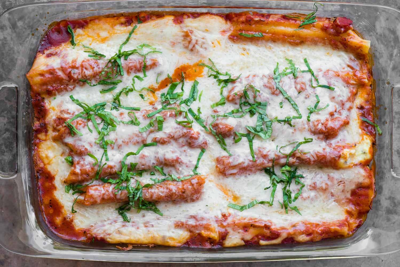 platter of cheese Manicotti