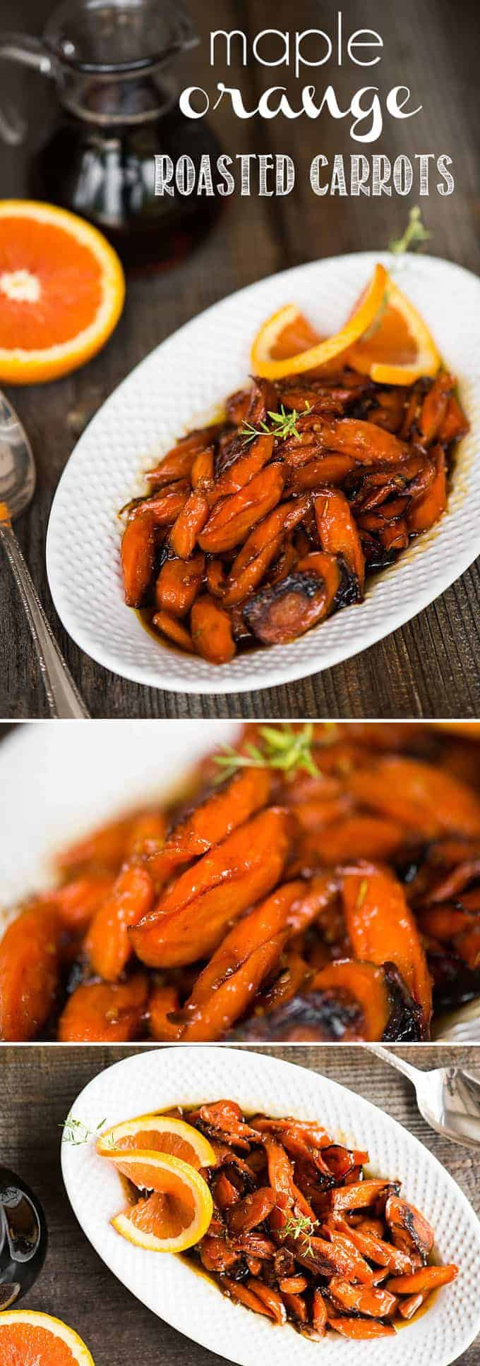 Maple Orange Roasted Carrots, with pure maple syrup, orange, and herbs, are an easy carrot side dish that is perfect for any dinner or holiday feast.